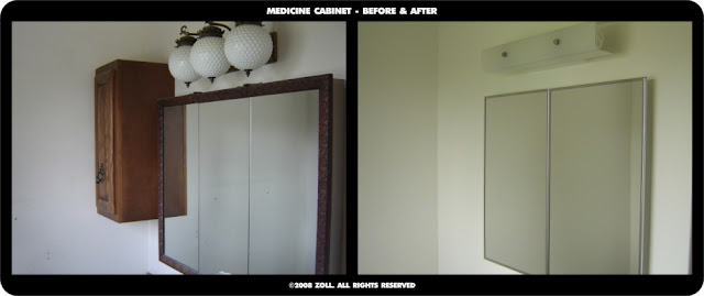 zollstudios master bath medicine cabinet before and after