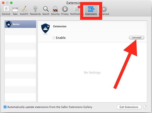 Remove ExtendedTool virus From Safari