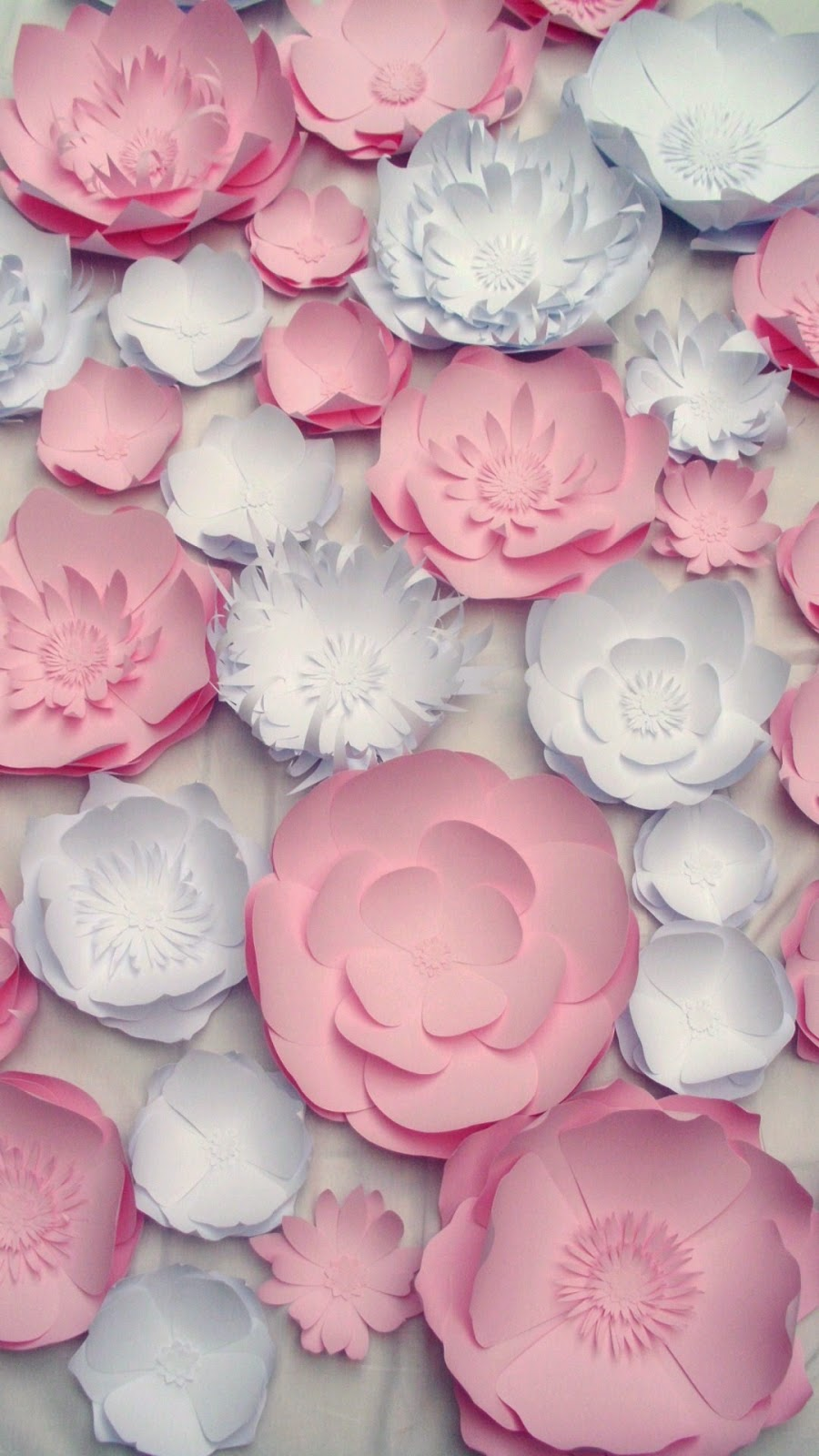 pink and white flowers statement wall