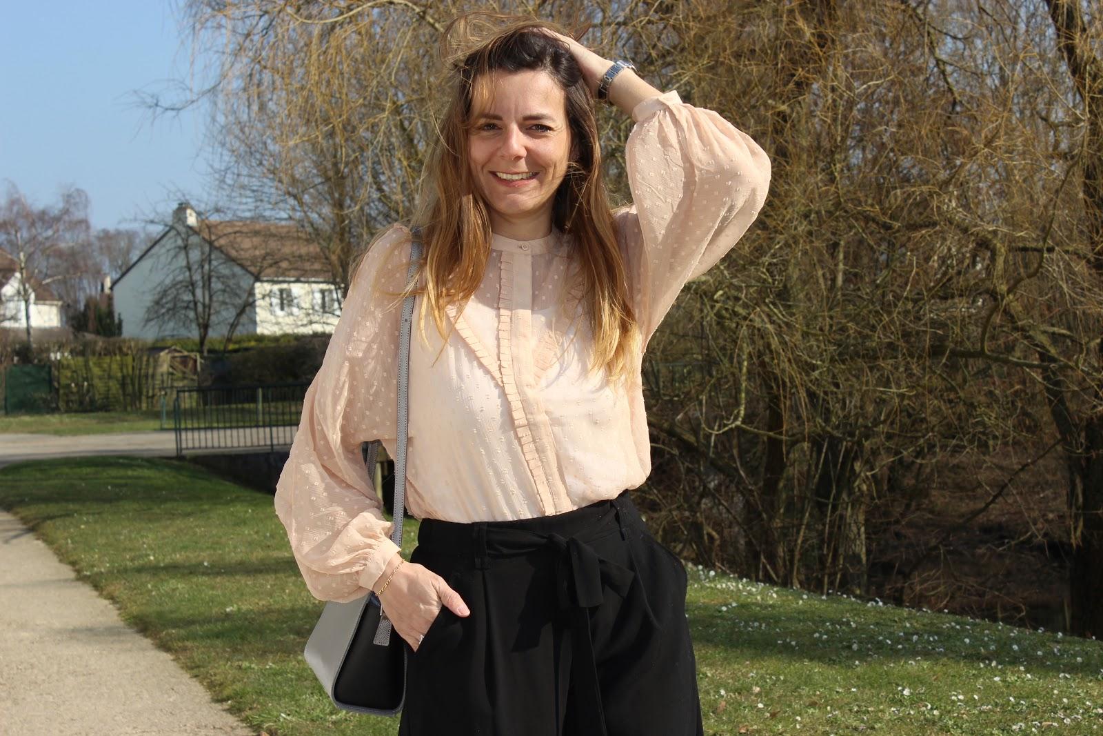 blouse h et m rose, jupe culotte, chaussures minelli les petites bulles de ma vie