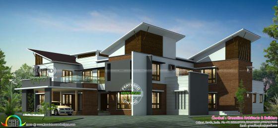 Luxury slanting roof mix 5 bedroom residence