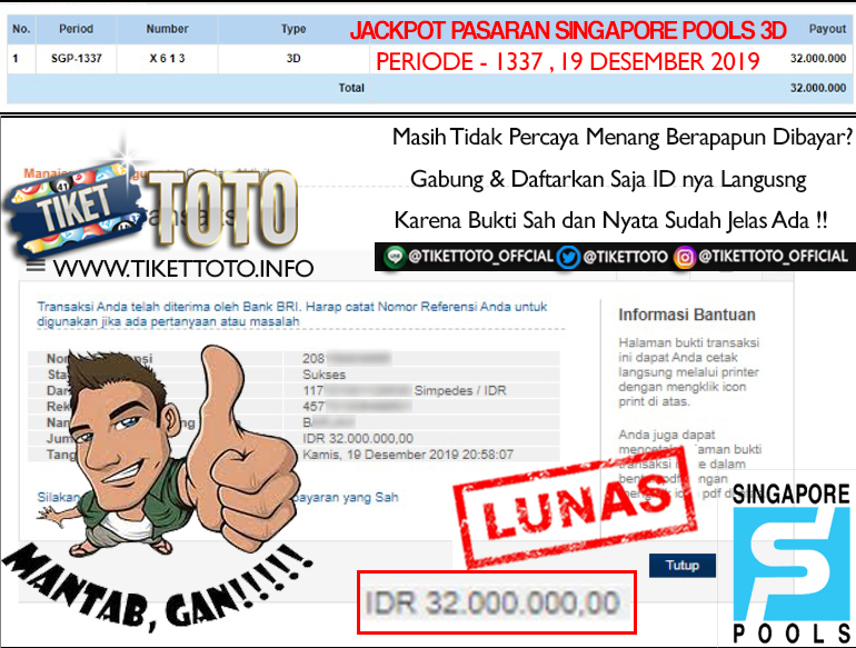 SINGAPORE POOLS JACKPOT 3D PERIODE 1337 19 DESEMBER 2019
