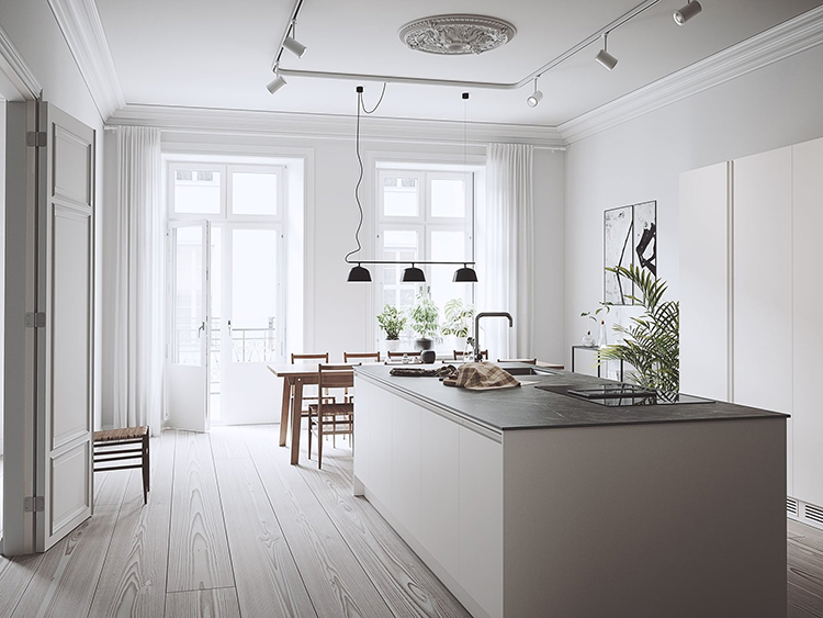 Bright scandinavian kitchen with large island. 3D visualisations by Illusive Images