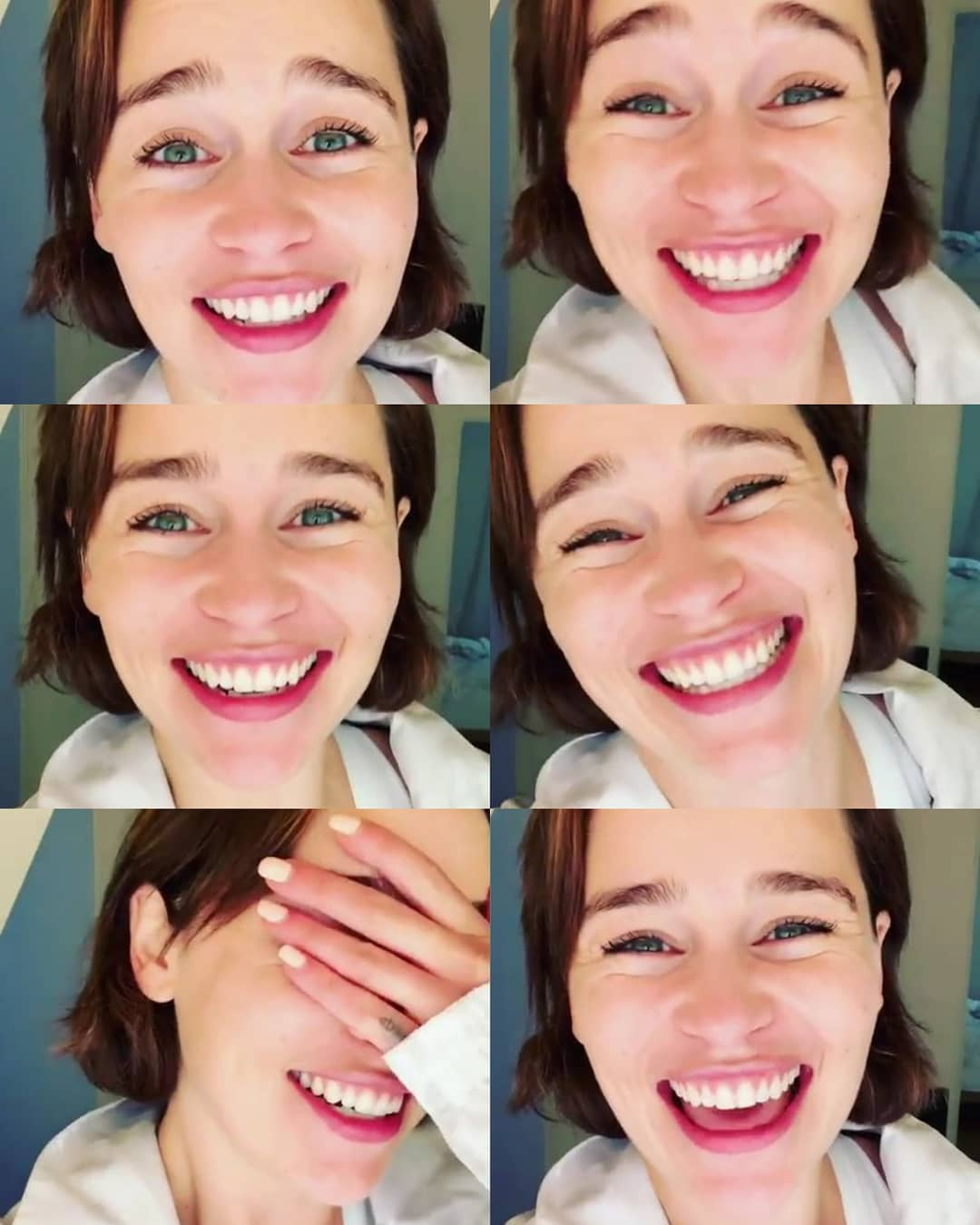 Hollywood Actress : I don't think Emilia Clarke needs makeup because she's a wonderful, fantastic queen already truly gorgeous full of magnificent brilliant smarts eyes of beauty gorgeous smile. Beautiful smile! Love!