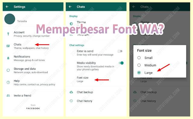 Cara Memperbesar (Zoom) Huruf WhatsApp Android/IOS