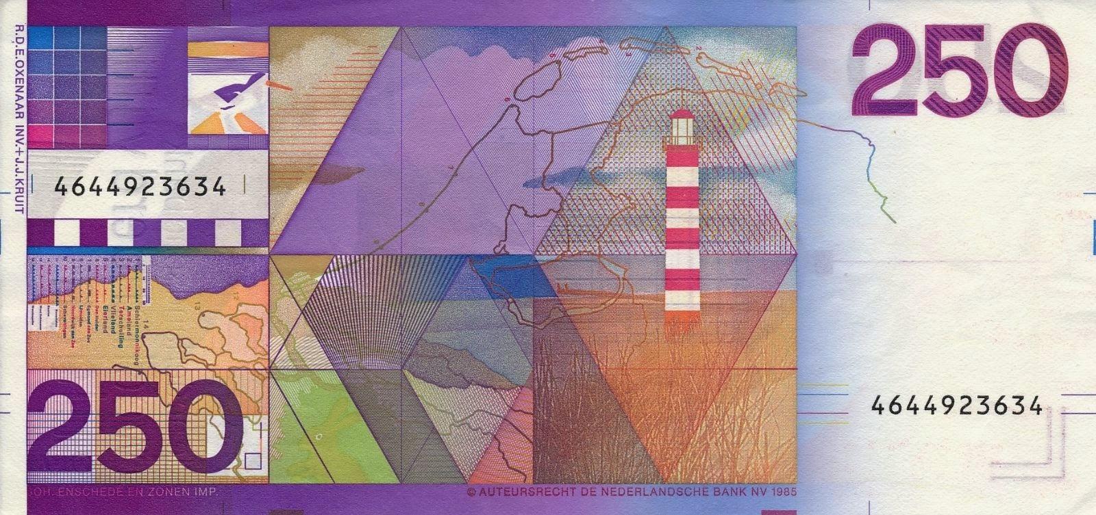 Dutch Guilder Banknotes 250 Gulden Bank note 1985 Lighthouse