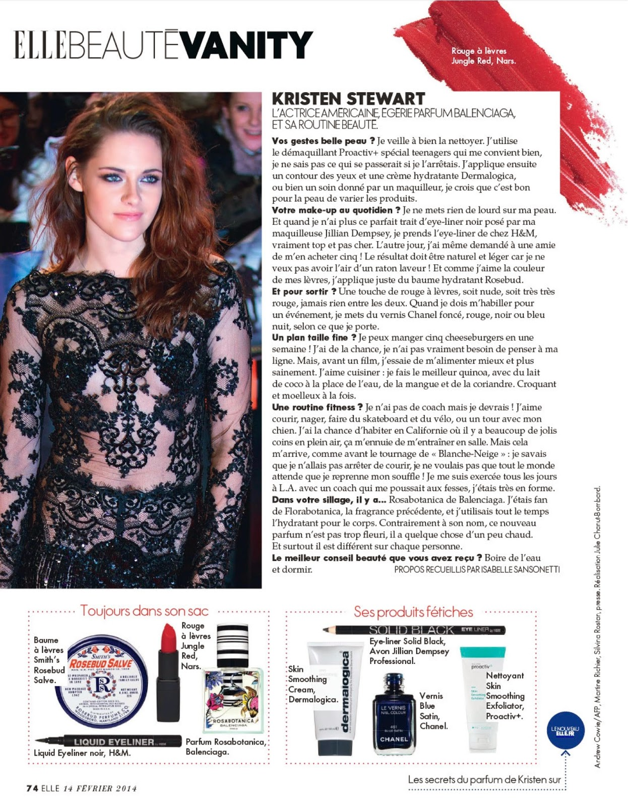 Kristen Stewart's beauty tips in ELLE France 3555 february 2014