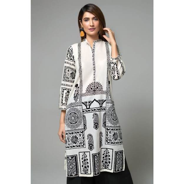 Gul Ahmed ready to wear kurti Black & white color printed collection
