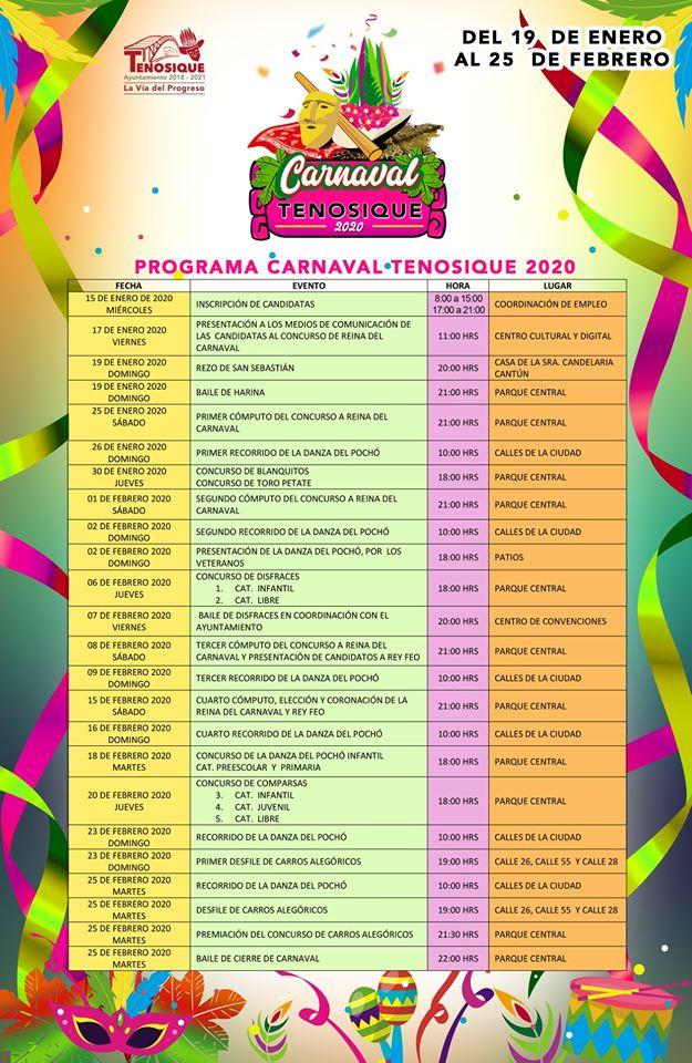 programa carnaval tenosique 2020