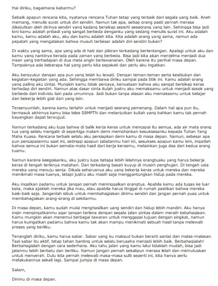 Contoh Surat Pribadi Singkat untuk Diri Sendiri (via: mediahusbandry.com)