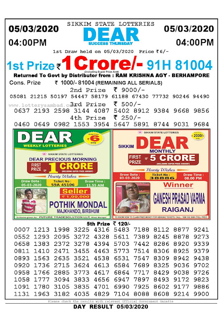 Sikkim State Lotteries 05-03-2020 Lottery Sambad Result 04:00 PM