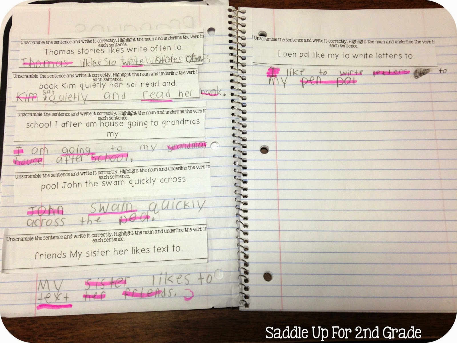 Unscrambling Verb Sentences FREEBIE from Saddle Up For 2nd Grade