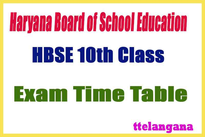HBSE 10th Exam Time Table