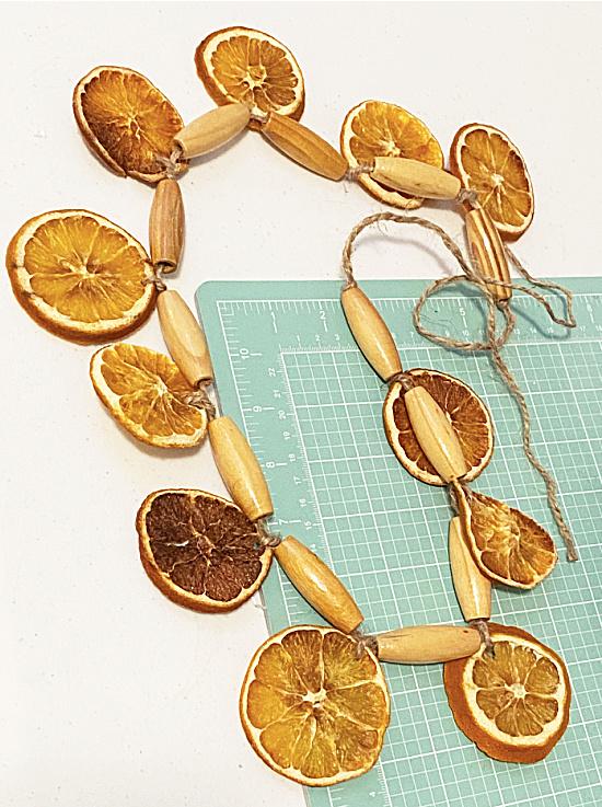 orange slice garland with beads