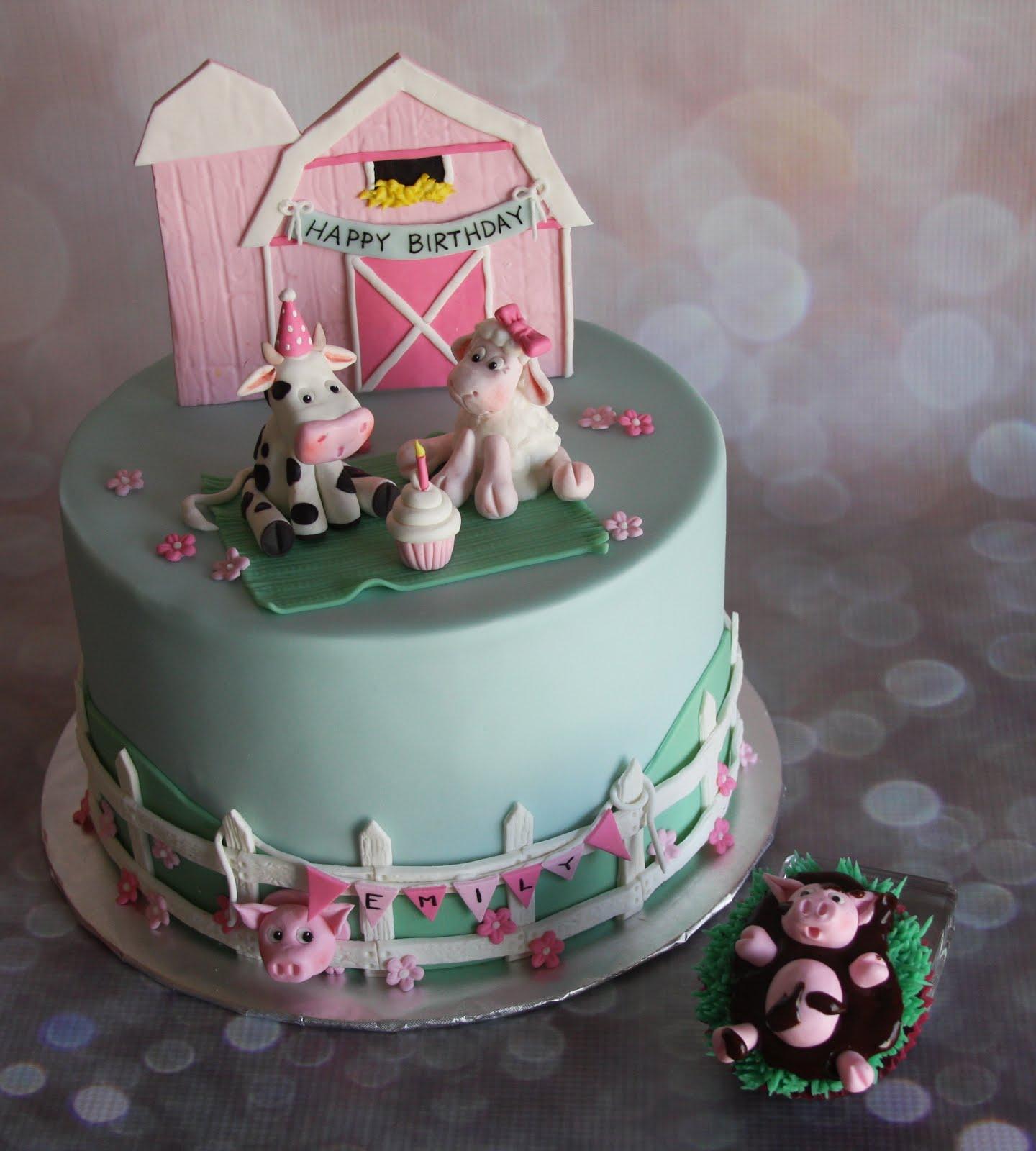 Wondrous Tammys Frosted Memories Pink Barnyard Cake Funny Birthday Cards Online Inifodamsfinfo