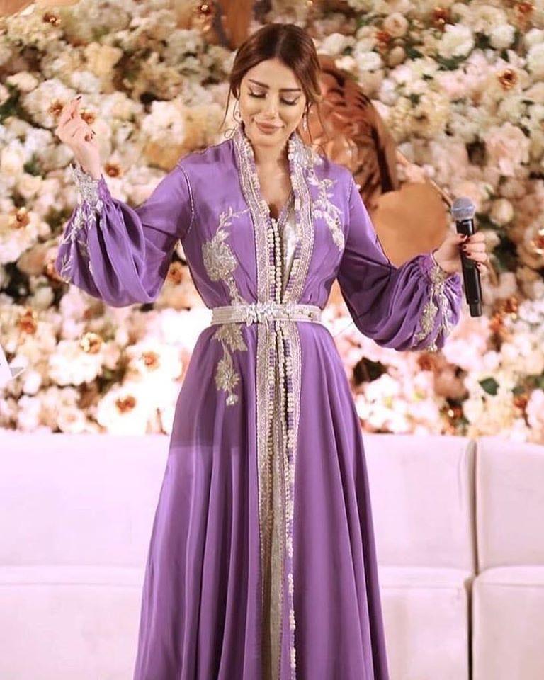 caftan mariage luxe couleur mauve vente lyon paris