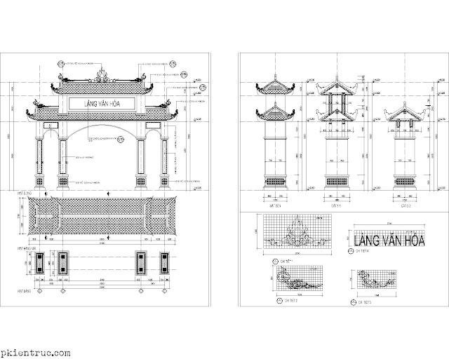 Bản vẻ cad khai triển kiến trúc cổng làng văn hóa