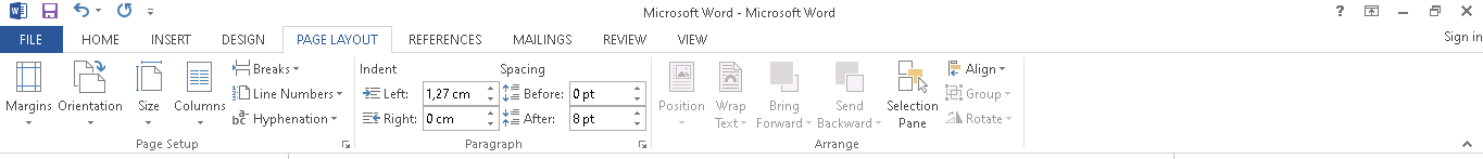 Menu page layout Microsoft Word