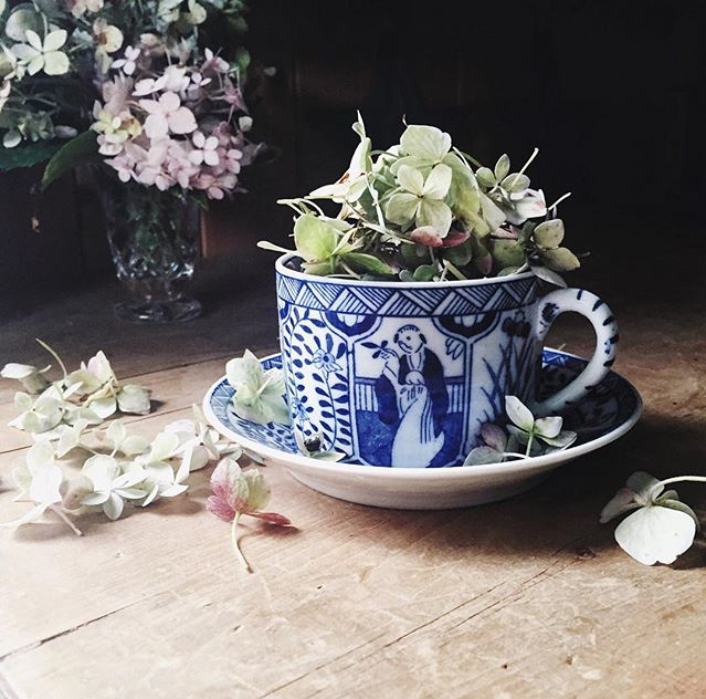 #ihavethisthingwithblueandwhite, blue and white teacup and saucer, O&Y Studio, Andrea Brinkley of O&Y Studio, vintage blue and white teacup and saucer