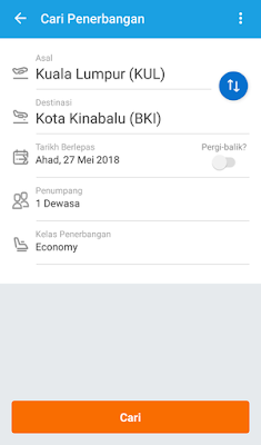 Cara Tempah Tiket Flight dengan Apps Traveloka