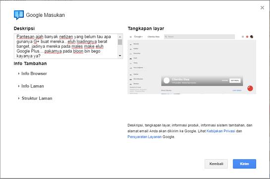 Kirim Masukan ke Google Plus