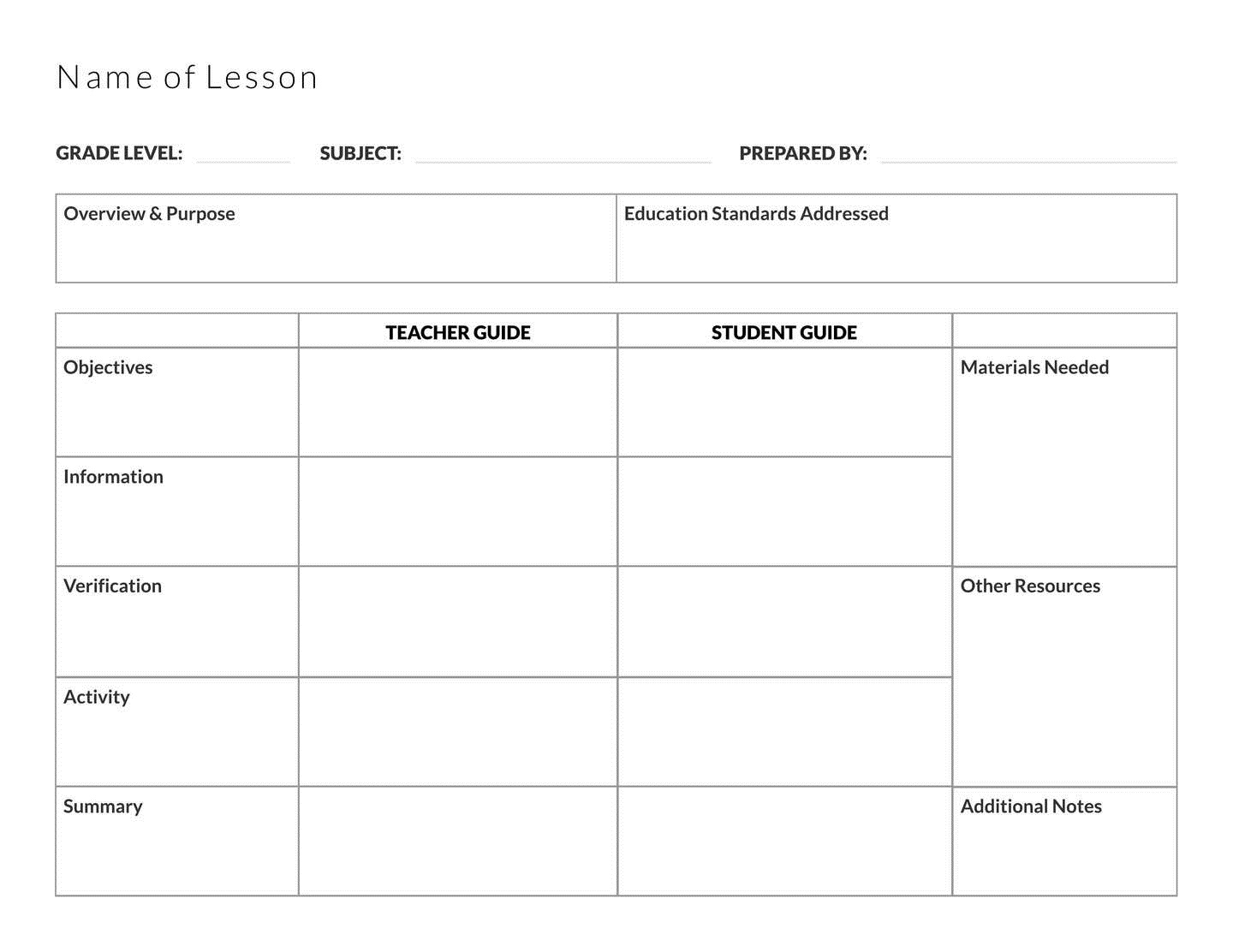 free printable and editable lesson plan template for teachers in english