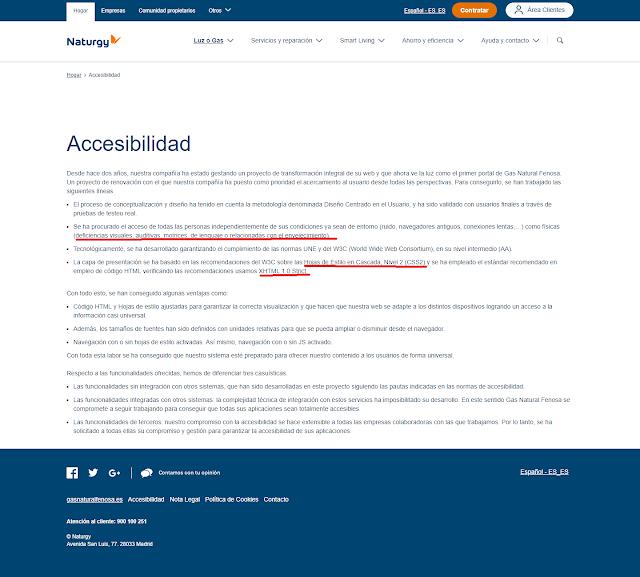 Naturgy poné en su pagina de accesibilidad que se basa en XHTML