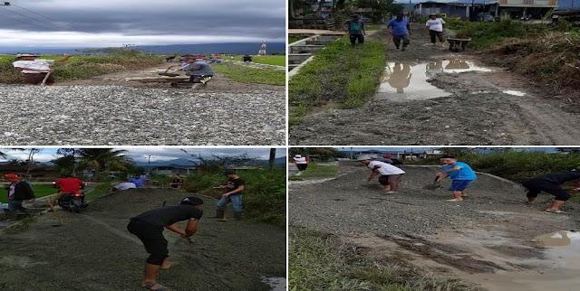Bertahun Terbiarkan, Warga Pendung Hiang Gotong royong Swadaya Timbun Jalan Batas