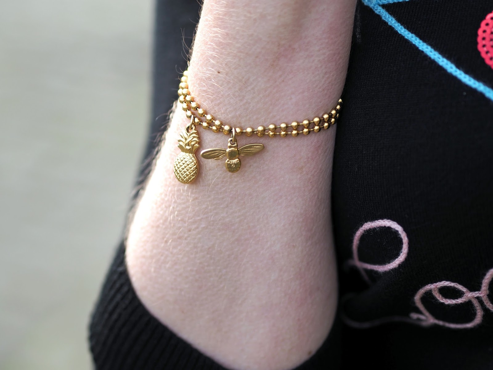 gold pineapple bracelet, gold honey bee bracelets by Danon