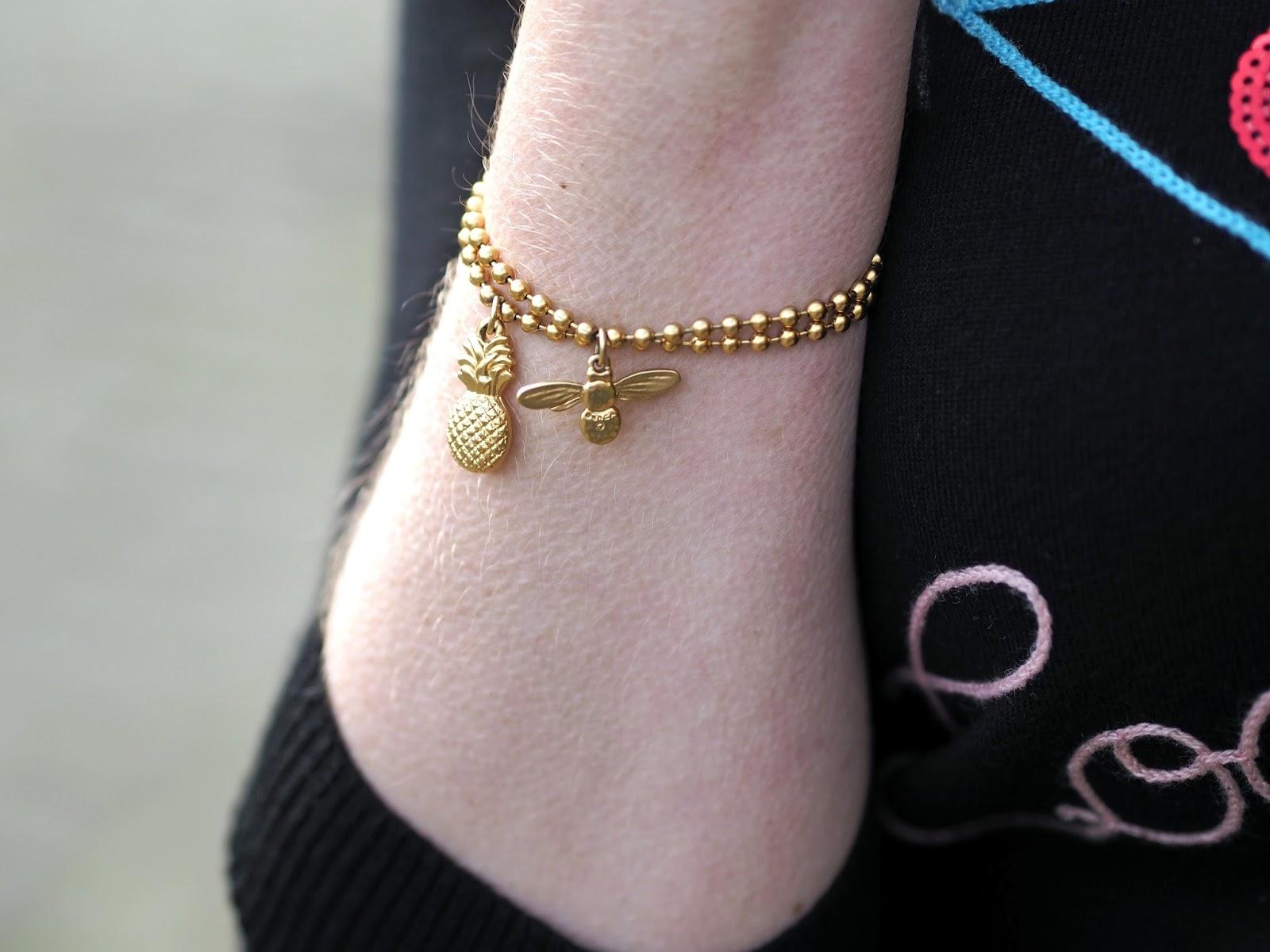 gold pineapple bracelet, gold honey bee bracelets by Danon