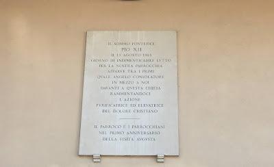 Targa Pio XII Santi Fabiano e Venanzio Villa Fiorelli