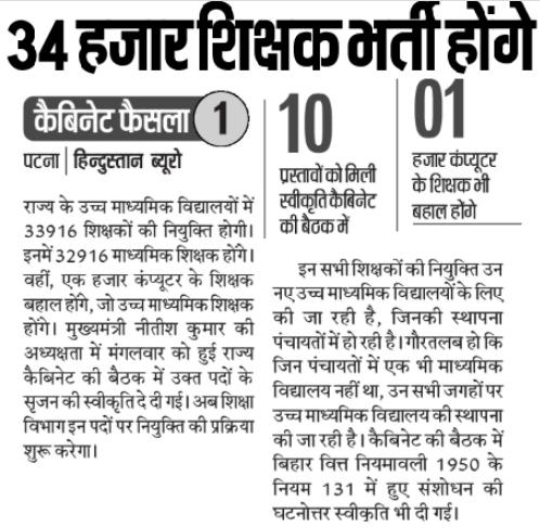 Bihar Teacher Vacancy 2020 Online form