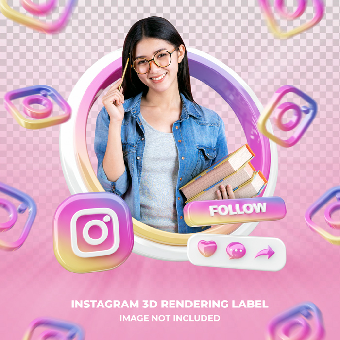 Banner Icon Profile Instagram 3D Rendering Label Isolated