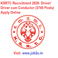 KSRTC Recruitment 2020, Driver, Driver cum Conductor