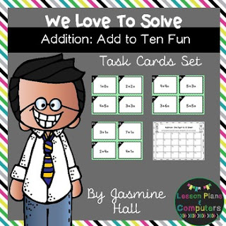 https://www.teacherspayteachers.com/Product/halfoffhalftime-We-Love-To-Solve-Addition-to-10-Task-Cards-2999997