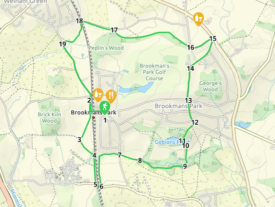 Map for Walk 10: Brookmans Park Loop  Created on Map Hub by Hertfordshire Walker  Elements © Thunderforest © OpenStreetMap contributors  Note: There is a larger, more-detailed map embedded at the end of these directions