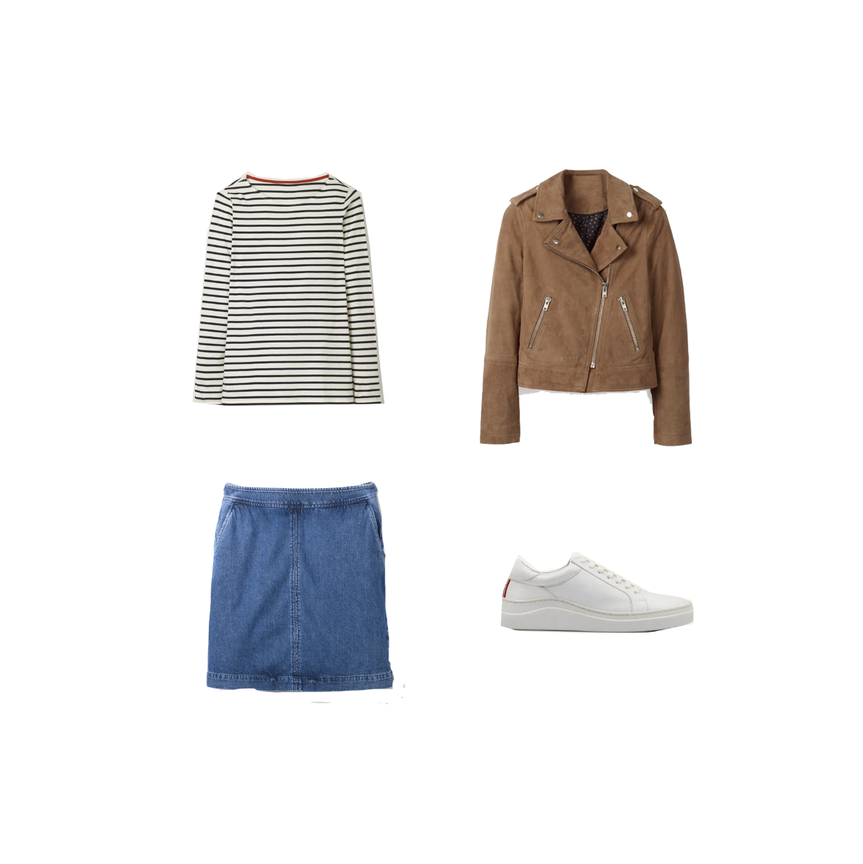 my midlife fashion, boden white leather trainers, boden suede biker jacket, boden denim skirt, boden long sleeve cotton breton top