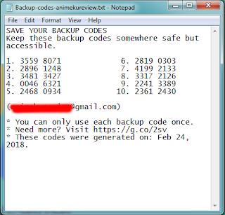 kode backup verifikasi 2 langkah