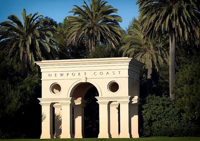 landscape of building with unique architecture at Newport Beach California