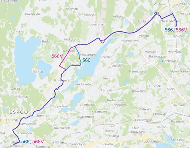 Linjavariantti 566V ajaa Koskelon kautta reittiä Kulloonmäentie - Kulloonsilta - Koskelontie - Juvankartanontie