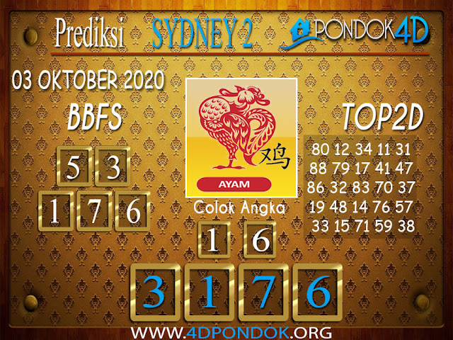 Prediksi Togel SYDNEY 2 PONDOK4D 03 OKTOBER 2020