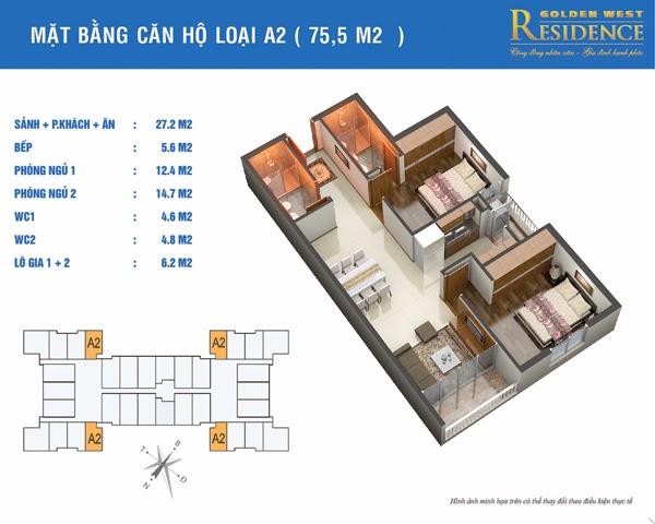 Căn A2 75,5 m2