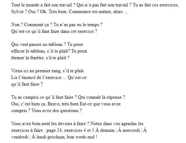 التواصل بالفرنسية داخل القسم