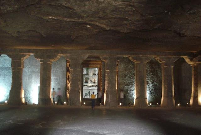 spacious interior of Ajanta cave 6