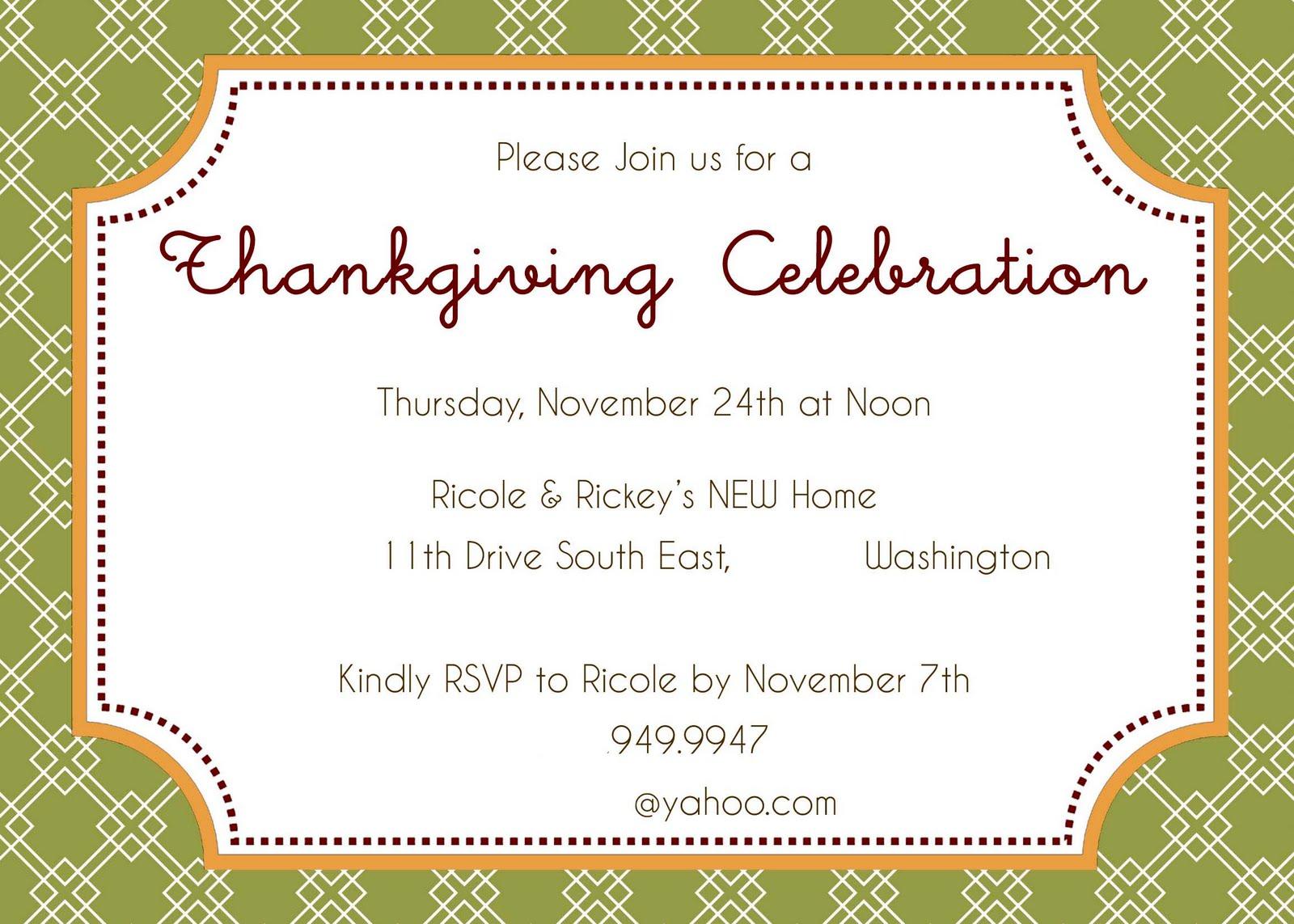 thanksgiving invitation examples : Cogimbo.us