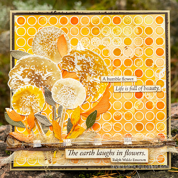 Layers of ink - Autumn Blooms Card Tutorial by Anna-Karin Evaldsson. Watercolor stamping with Simon Says Stamp Laugh In Flowers and Circle Pattern stamps.