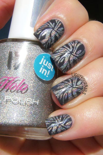 Holo swirls nail art feat. plate BP-L071