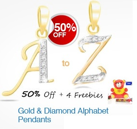 Flat 50% OFF on Gold & Diamond Alphabet Pendant + 4 Freebies (Teddy Bear, Chain, Chocolate Pack, Greeting Card)- Homeshop18 Valentine Offer