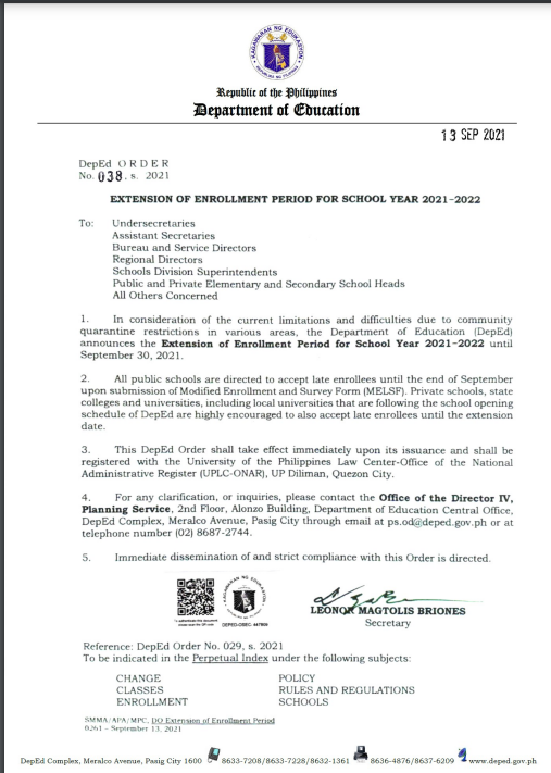 DepEd Order No. 038 s 2021   EXTENSION OF ENROLLMENT PERIOD FOR SCHOOL YEAR 2021-2022