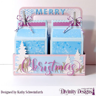 Custom Dies: Milk Carton Holder, Milk Carton with Layers, Trees & Deer, Merry Christmas, Icicle Border Paper Collection:  Christmas 2019